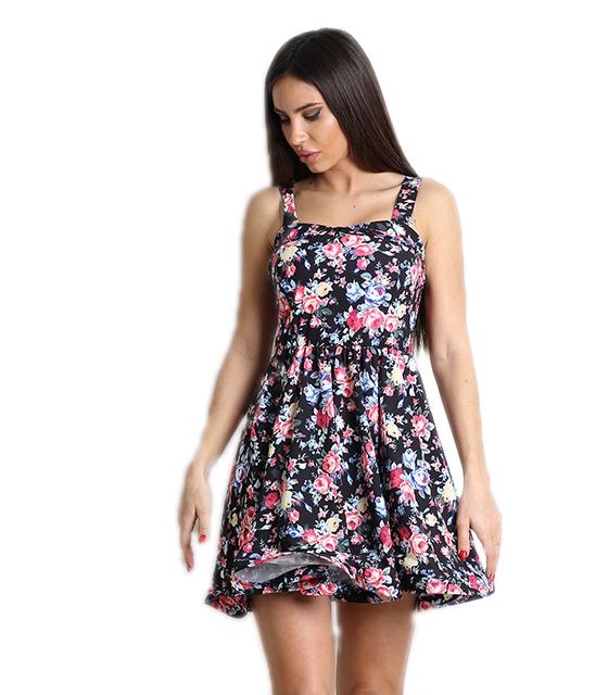 Μαύρο φόρεμα φλοράλ με επένδυση