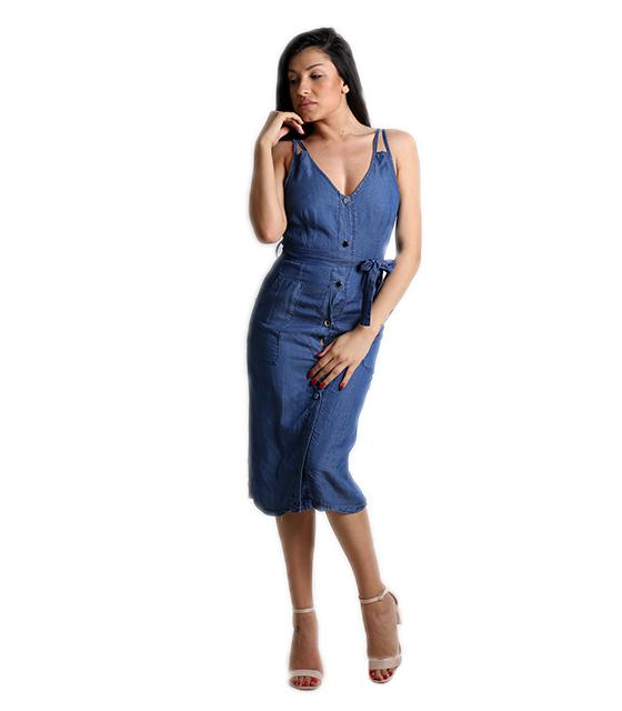 Τζιν φόρεμα με κουμπιά και τσέπες (Σκούρο μπλε)