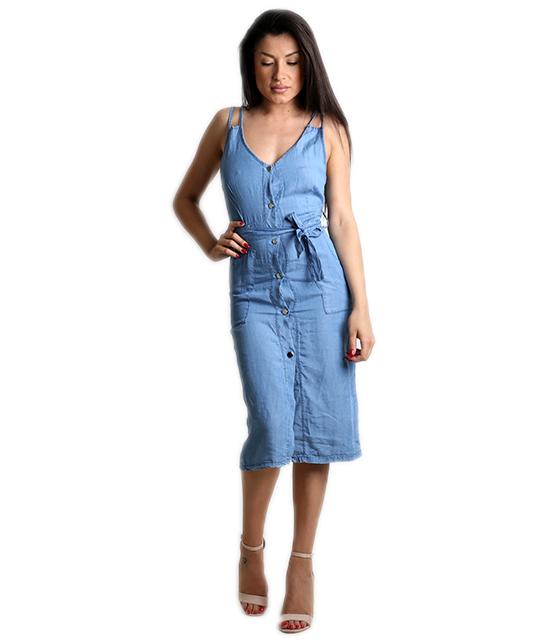 Τζιν φόρεμα με κουμπιά και τσέπες (Ανοιχτό μπλε)