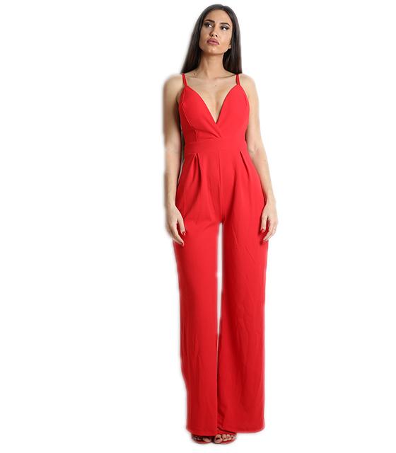 Ολόσωμη φόρμα με επένδυση και τιράντες (Κόκκινο)