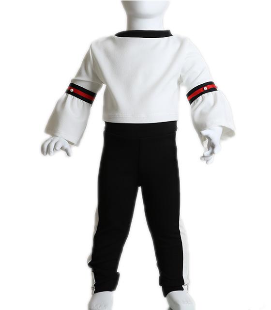 Βρεφικό σετ λευκή μπλούζα και μαύρο παντελόνι με ρίγα