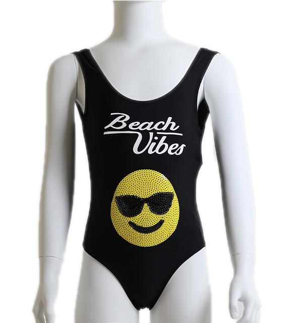 """Μαύρο ολόσωμο μαγιό με τύπωμα """"Beach Vibes"""""""