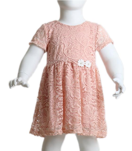 Βρεφικό ροζ δαντελένιο φόρεμα με φόδρα και λουλούδια παιδικά