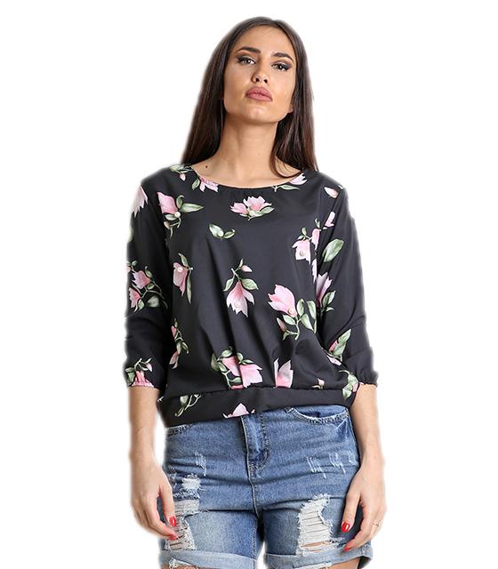 Σατέν μπλούζα φλοράλ με πέρλες (Μαύρο) ρούχα   μπλούζες   top   φούτερ   μακρυμάνικα