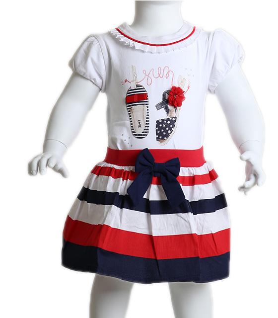 Βρεφικό σετ μπλούζα - φούστα με σχέδιο παπουτσάκια (Λευκό)