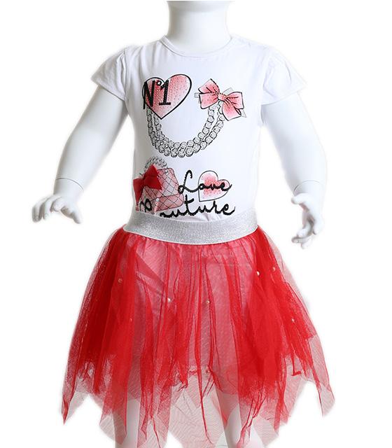 Βρεφικό σετ μπλούζα - φούστα τούλι με πέρλες (Κόκκινο)