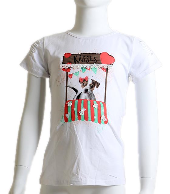Κοντομάνικη μπλούζα με σχέδιο σκυλάκι (Λευκό)