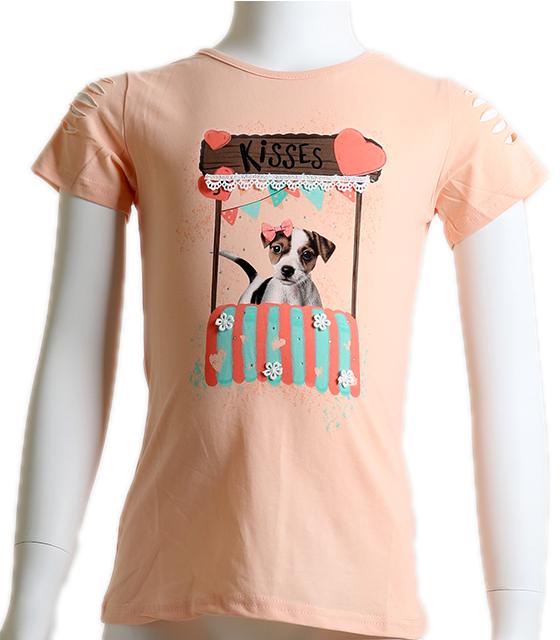 Κοντομάνικη μπλούζα με σχέδιο σκυλάκι (Σομόν)
