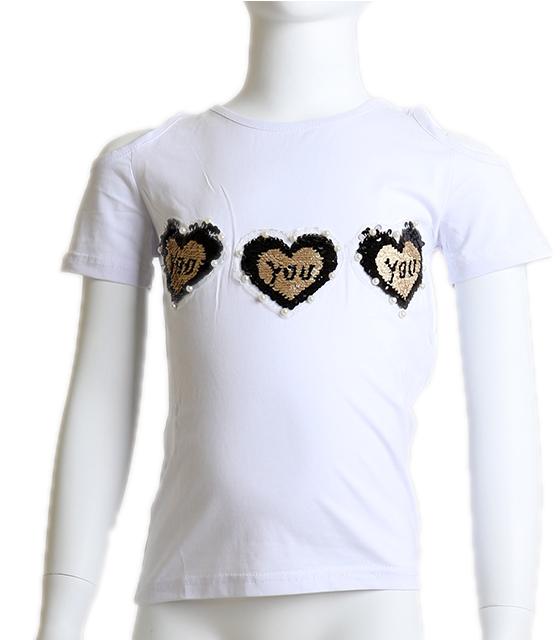 Κοντομάνικη μπλούζα με καρδούλες (Λευκό)