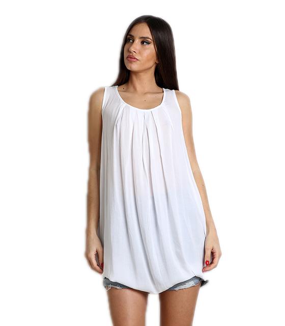 Λευκή αμάνικη μπλούζα μακριά