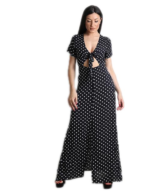 Μάξι φόρεμα πουά με δέσιμο στην μέση (Μαύρο)