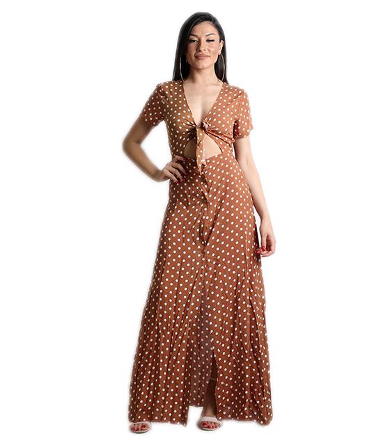Μάξι φόρεμα πουά με δέσιμο στην μέση (Καφέ)