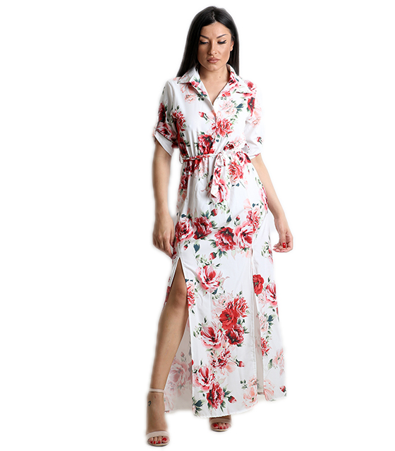 Μάξι φόρεμα φλοράλ με κουμπιά και ζωνή (Λευκό)