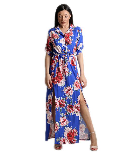 Μάξι φόρεμα φλοράλ με κουμπιά και ζωνή (Μπλε)