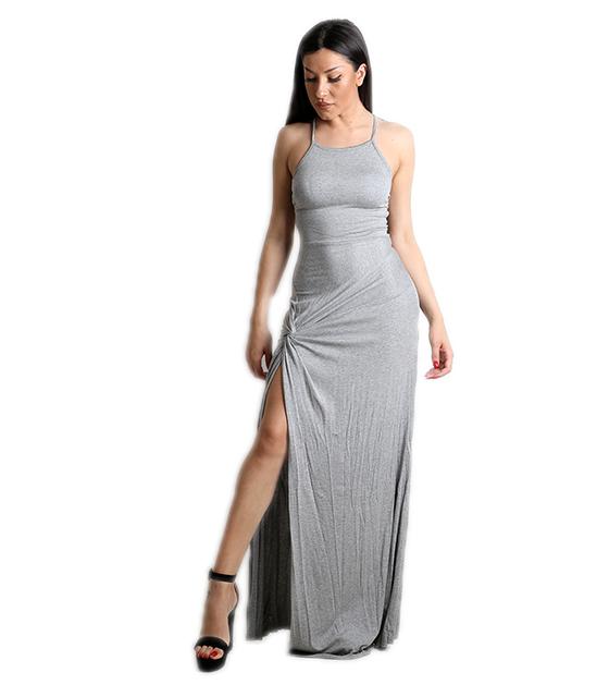 Μάξι φόρεμα βισκόζ με άνοιγμα στο πλάι (Γκρι)