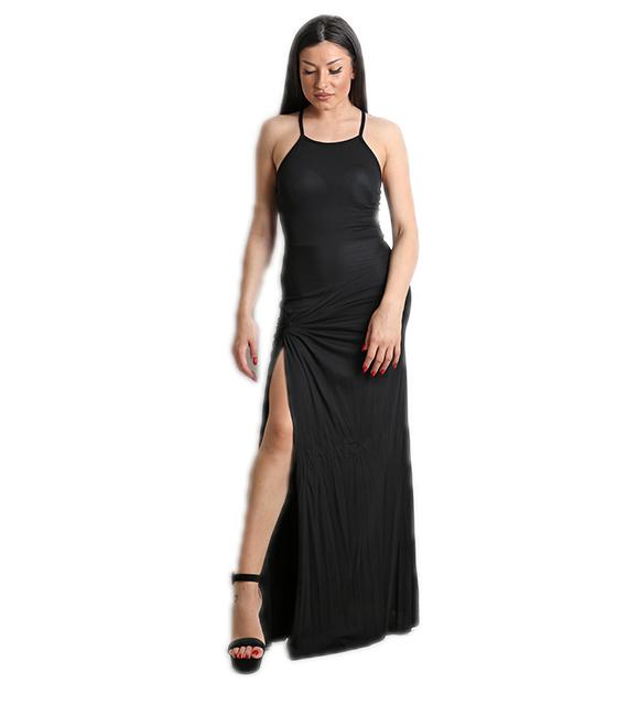 Μάξι φόρεμα βισκόζ με άνοιγμα στο πλάι (Μαύρο)