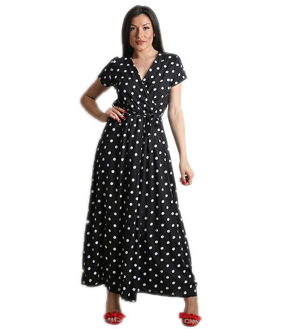 Μάξι φόρεμα πουά με ζώνη (Μαύρο) ρούχα   φορέματα