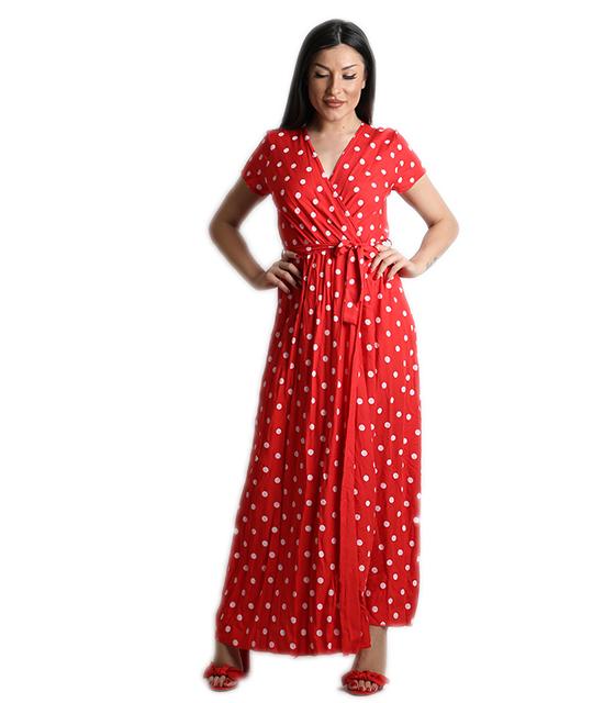 Μάξι φόρεμα πουά με ζώνη (Κόκκινο) ρούχα   φορέματα
