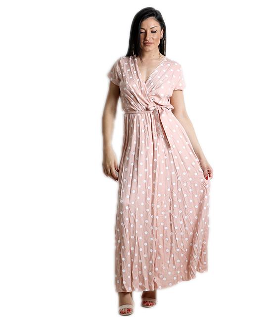 Μάξι φόρεμα πουά με ζώνη (Ροζ)