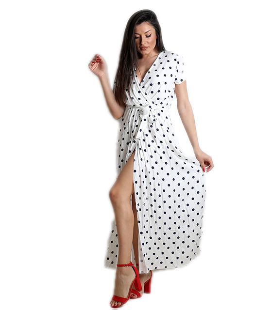 Μάξι φόρεμα πουά με ζώνη (Λευκό)