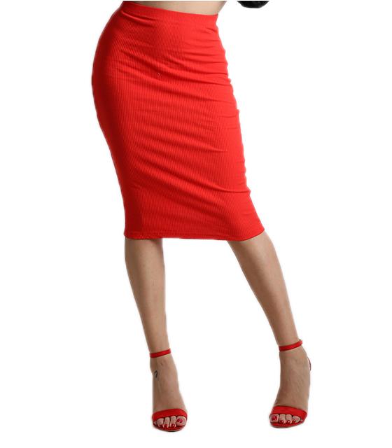 Φούστα ριπ με λάστιχο στην μέση (Κόκκινο)