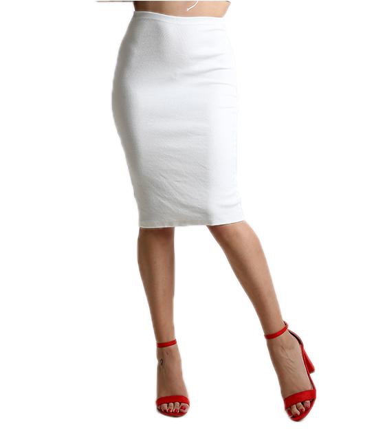 Φούστα ριπ με λάστιχο στην μέση (Λευκό)