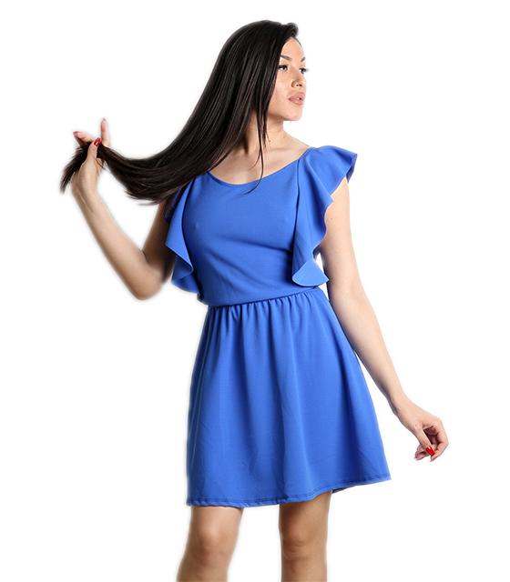 Μπλε φόρεμα με δέσιμο στο πίσω μέρος και βολάν
