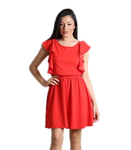 Κόκκινο φόρεμα με δέσιμο στο πίσω μέρος και βολάν