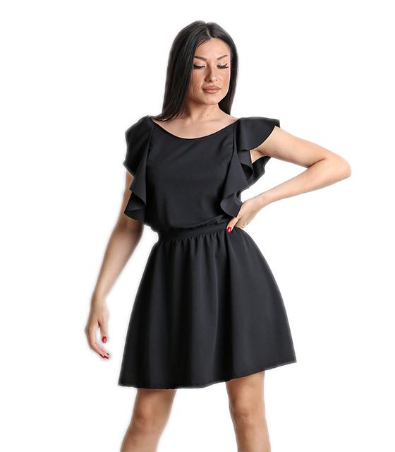 Μαύρο φόρεμα με δέσιμο στο πίσω μέρος και βολάν ρούχα   φορέματα