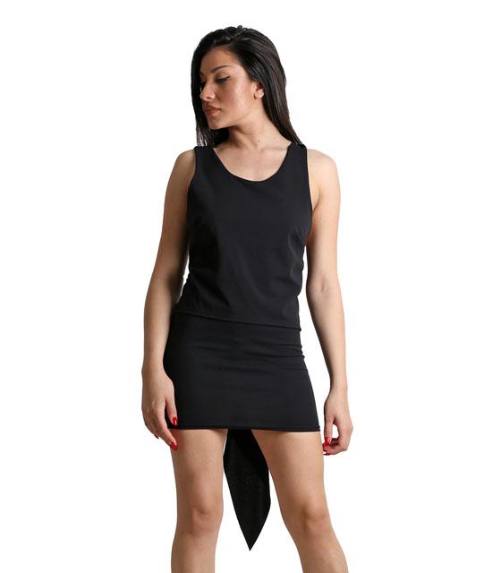 Μαύρη μπλούζα με δέσιμο και ουρά
