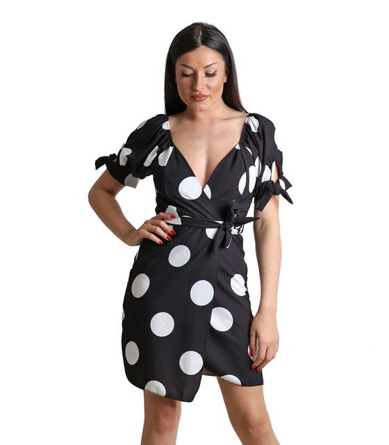 Φόρεμα πουά κρουαζέ με ζώνη και δέσιμο στα μανίκια (Μαύρο) ρούχα   φορέματα