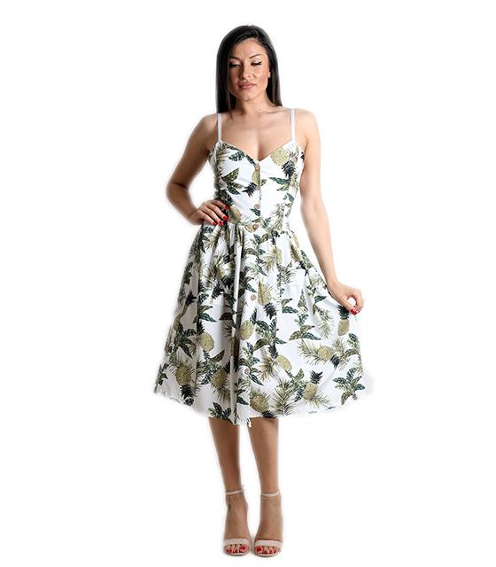 Λευκό φόρεμα με σχέδιο ανανά και ρυθμιζόμενες τιράντες