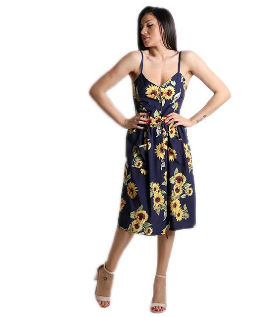 Φόρεμα φλοράλ με τσέπες και ρυθμιζόμενες τιράντες (Μπλε)