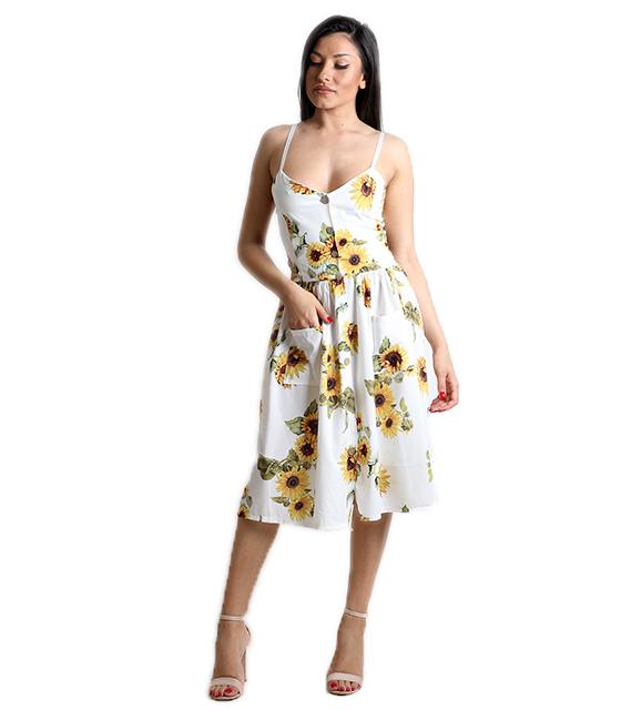 Φόρεμα φλοράλ με τσέπες και ρυθμιζόμενες τιράντες (Λευκό)