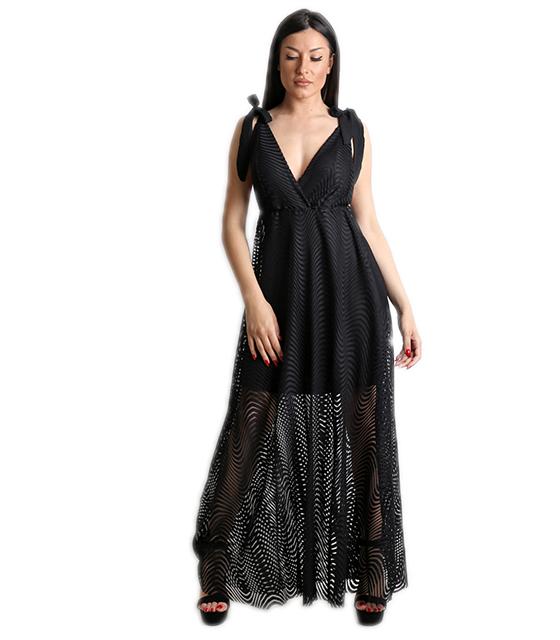 Μάξι φόρεμα δαντελένιο με εσωτερική φόδρα (Μαύρο)