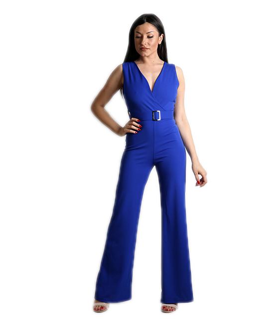 Ολόσωμη φόρμα κρουαζέ με ζώνη και κουμπί στο πίσω μέρος (Μπλε)