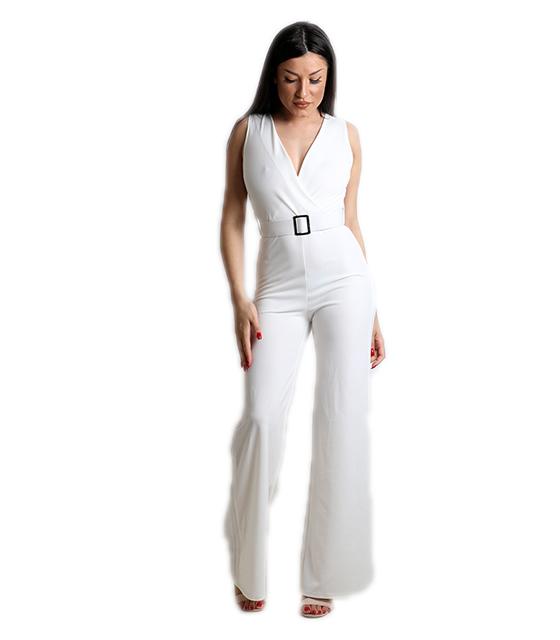 Ολόσωμη φόρμα κρουαζέ με ζώνη και κουμπί στο πίσω μέρος (Λευκό)