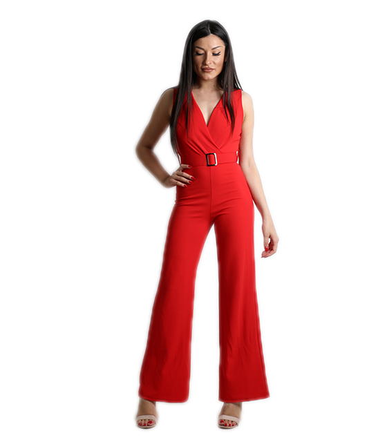 Ολόσωμη φόρμα κρουαζέ με ζώνη και κουμπί στο πίσω μέρος (Κόκκινο)