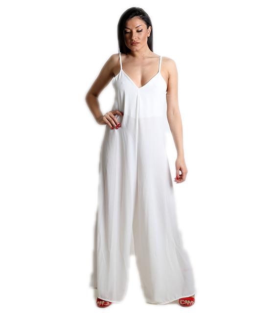 Ολόσωμη φόρμα με τιράντες (Λευκό)