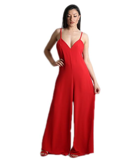 Ολόσωμη φόρμα με τιράντες (Κόκκινο)