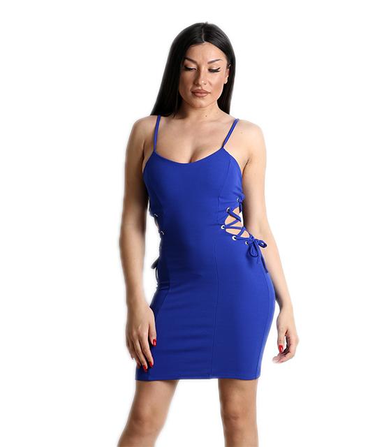 Μπλε φόρεμα με χιαστή στο πλάι και τιράντες
