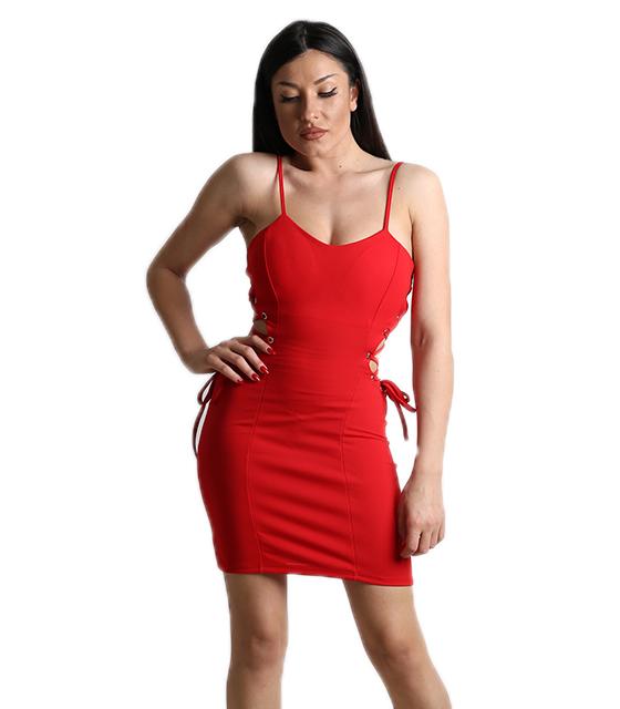 Κόκκινο φόρεμα με χιαστή στο πλάι και τιράντες