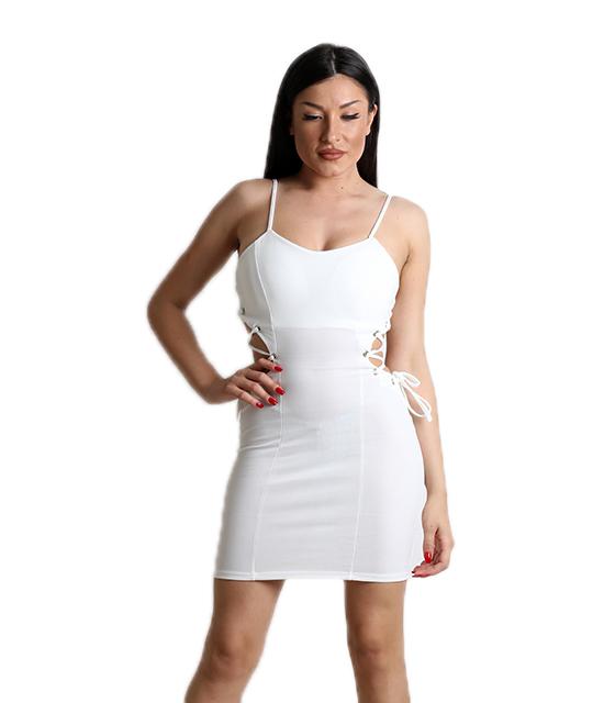 Λευκό φόρεμα με χιαστή στο πλάι και τιράντες
