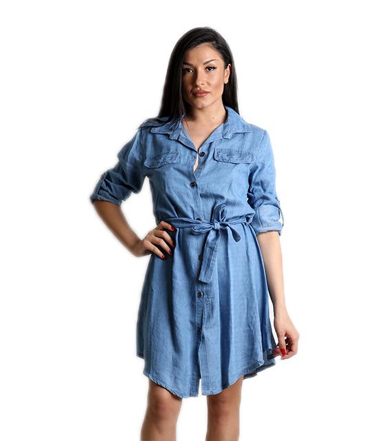 Τζιν φόρεμα με γιακά και ζώνη