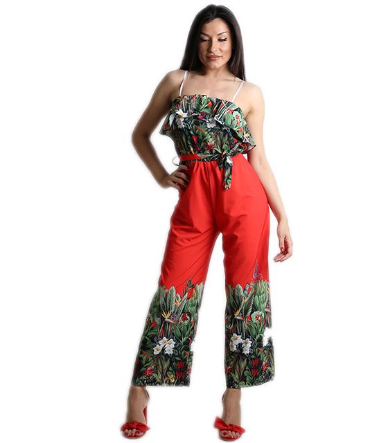 Ολόσωμη φόρμα φλοράλ με ζώνη και τιράντες (Κόκκινο)