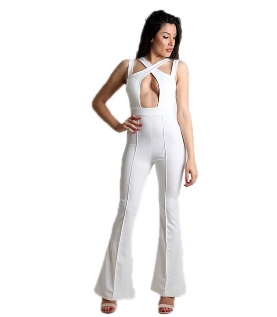 Ολόσωμη φόρμα με επένδυση και χιαστή (Λευκό)