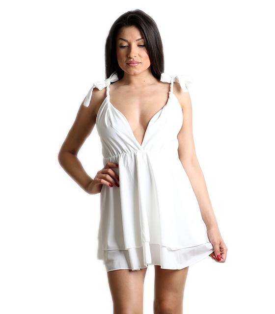 Λευκό φόρεμα μίνι με δεσίματα