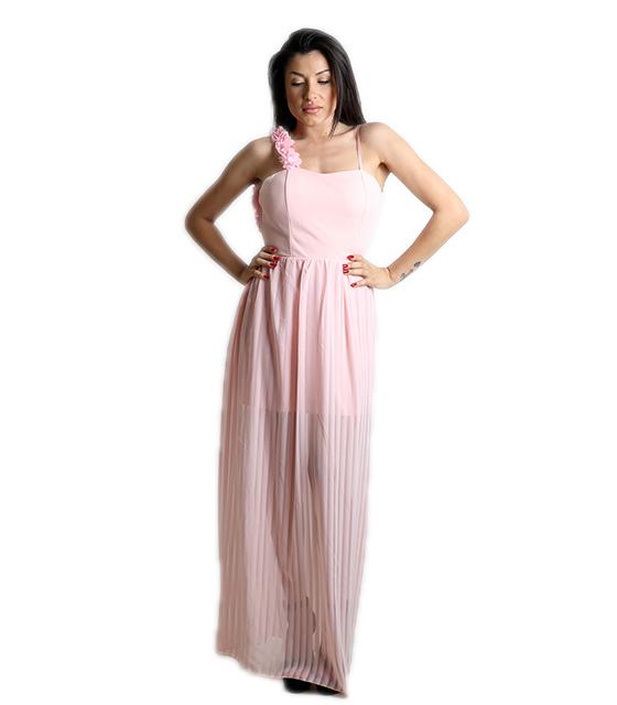 Μάξι φόρεμα με επένδυση και εσωτερική φόδρα (Ροζ)