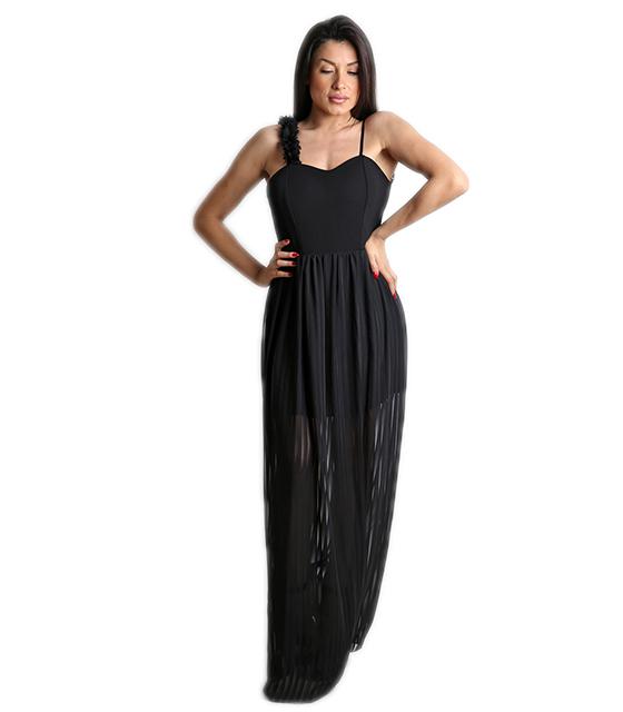 Μάξι φόρεμα με επένδυση και εσωτερική φόδρα (Μαύρο)