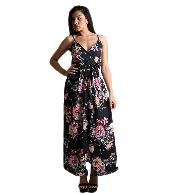 Μάξι φόρεμα φλοράλ κρουαζέ με τιράντες (Μαύρο)